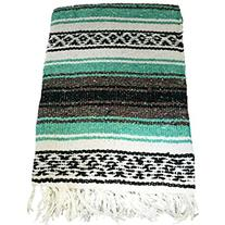 Hand Woven Classic Mexican Yoga Blankets Cool Mint