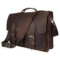 Kattee Handmade Genuine Leather Laptop Briefcase Messenger