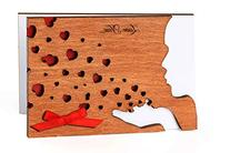 Handmade Sustainable Real Wood Card Tender Kiss Red Hearts