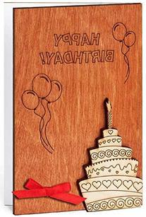 Handmade Sustainable Wooden Happy Birthday Card Birthday