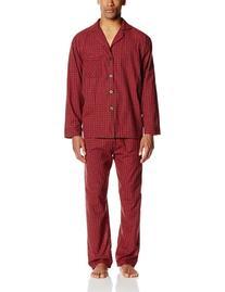 Hanes Men's Woven Plain-Weave Pajama Set, Red Plaid, Large