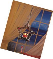 Hanging Bejeweled Star LED Tea Light Candle Lantern Red