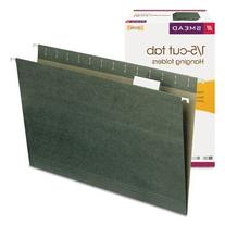 Hanging File Folders, 1/5 Tab, 11 Point Stock, Legal, Green