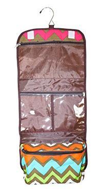 NGIL Hanging Toiletry Bag, Chevron Brown Multi