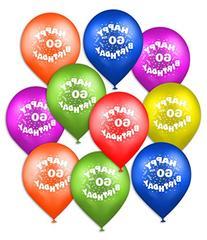 "Happy 60th Birthday 12"" Balloons 10 Count"