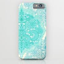 Happy Place Doodle In Mint Green & Aqua iPhone 6s Case