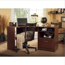 Bush Furniture Cabot Corner Desk with File Drawer in Harvest