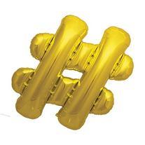 "Hashtag Gold Metallic 40"" Mylar Party Balloon"