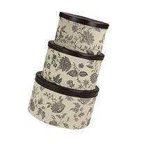 Household Essentials 3-Piece Hat Box Set with Faux Leather