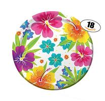 Hawaiian Luau Summer Party Paper Plates - 18 count - Large