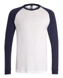 Canvas - Hawthorne Long Sleeve Baseball T-shirt, Olive/Navy