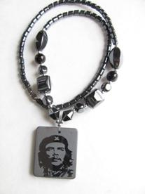 Healing Hematite Necklace with Che Guevara Pendant Available