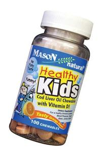 Mason Natural Healthy Kids Cod Liver + D Chewable 100 Chwbls