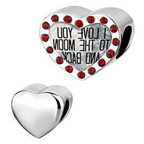 LovelyJewelry Heart Love Charms I Love You to the Moon and
