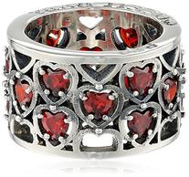 King Baby Heart Patterned Garnet Stones Ring, Size 7