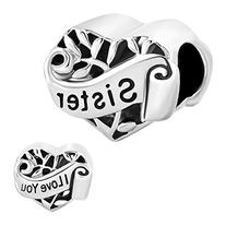 Pugster Heart Sister I Love You Charm New Sale Cheap Beads