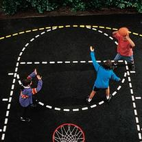 Heavy Duty Paper Basketball Court Stencil with Paint Roller