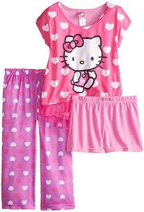 Hello Kitty Big Girls' All Over Hearts 2-Piece Pajama Set,