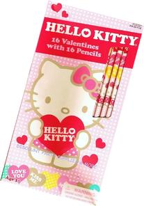 Set of 16 Hello Kitty Valentines Cards and Pencils