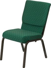 Green Patterned Stacking Church Chair-Gold Vein Finish