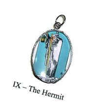 THE HERMIT TAROT CARD CHARM Glass Covered Altered Art for