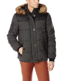 Buffalo by David Bitton Men's Herringbone Hooded Puffer Coat
