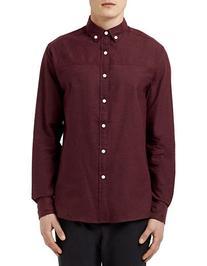 Topman Herringbone Sport Shirt-BURGUNDY-X-Small