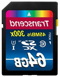 Transcend 64GB SDXC Class 10 UHS-1 Flash Memory Card Up to