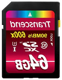 Transcend 64GB SDXC Class 10 UHS-1 Flash Memory Card Up to 90MB/s