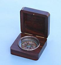 Hinged Rosewood Captain's Brass Nautical Desk Compass