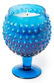 Himalayan Trading Post 'Hobnail' Goblet Candle - Blue
