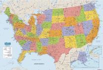 HOUSE OF DOOLITTLE HOD720 US & WORLD MAPS LAMINATED US 50X33