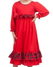 Laura Dare Girls Holiday Red Long Sleeve Gown, size 8