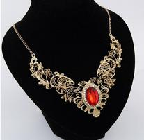 Buyinhouse Hollow Carved Lace Necklace With Ruby Pendant