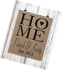 Home With Heart Burlap Art Print - Housewarming Gift -