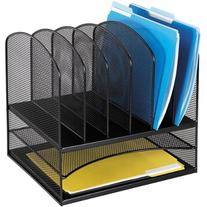 Safco® OnyxTM Mesh Desk Organizer With Two Horizontal/Six