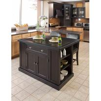 Home Styles Nantucket Kitchen Island, Distressed Black
