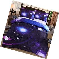 EsyDream Home Twin Queen Kids Bedding Space Print,Universe