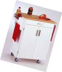 Homestyles 9001-0021 White Kitchen Cart with Wood Top