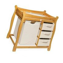 Honey Sleigh Style Changing Table with Hamper and Three