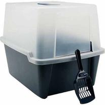Iris Hooded Cat Litter Box with Scoop and Grate, Navy