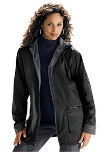 Roamans Women's Plus Size Hooded Nylon Jacket Black,1X