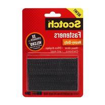 Hook and Loop Fastener Tape, 1'' x 3'', two sets, Black,