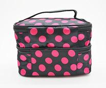 Housweety Unique Dots Pattern Double Layer Cosmetic Bag