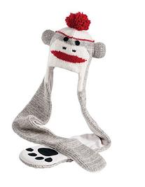 Nirvanna Designs HSCUTE Cute Monkey Hat Scarf, Grey, 11