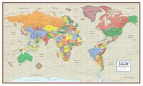 Swiftmaps World Contemporary Elite Wall Map Poster Mural 24h
