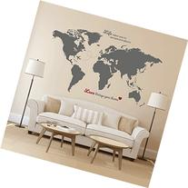 Timber Artbox Huge World Map Wall Decal with Quotes - Best