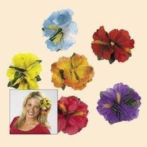 Hula Girl Hibiscus Flower Lei Hair Clips