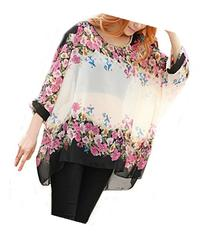 iNewbetter Womens Floral Batwing Sleeve Loose Blouse Tunic