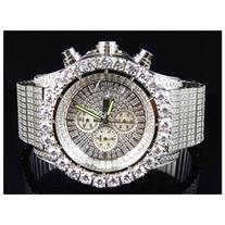 Iced Out Stainless Steel Simulated Diamond Watch White Gold